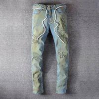 20ss Lüks Tasarımcılar Yüksek Kaliteli erkek Kot Giyim Fermuar Pantolon Açık Mavi Moda Erkekler Ince Denim Düz Biker Delik Hip Hop Rock Canlanma Jean
