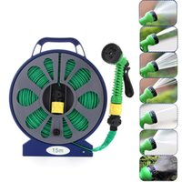 Watering Equipments 50FT 15M Retractable Garden Turntable Flat Hose Pipe Reel Stand Water Spray Gun Nozzle Supplies