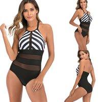 Сексуальная черная сетка в полоску один кусок Купальники женщины цельные купальники плюс размер трикини плавать костюм монокини плавание женское плавание носить 1325 z2