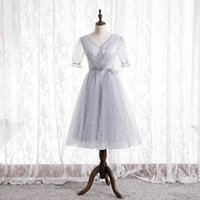 Sexy Summer Silver Gray Bridesmaid Dresses V-Back Soft Tulle with Stars Sequins