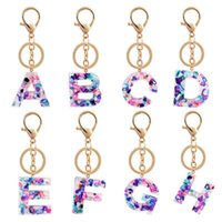 Keychains 26 Letters Color Pendant Keychain For Women Men A To Z Acrylic Keyring Holder Luxury Key Ring Charm Bag Accessories