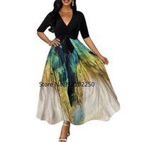 Party Dresses Summer Dress Women 2021 Vintage V Neck Printed Evening Half Sleeve High Waist Belt Slim Ball Gown Beach Maxi