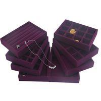 Upscale paarse fluwelen sieraden display lade sieraden box ringen ketting oorbel armbanden lade sieraden organizer 0FUR9 1159 Q2