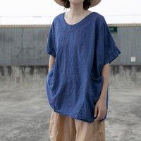 T-shirt das mulheres Johnature Mulheres do algodão camisetas Tops azuis da luva curta do V-pescoço Tops 2021 Bolsos do verão T-shirts