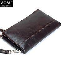 Wallets Men Brand Organizer Genuine Leather Double Zipper Clutch Bag Man Cow Long Purse Multi-function Phone N098