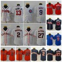 청소년 키즈 13 Ronald Acuna JR Baseball Jerseys 9 Javier Baz 2 Alex Bregman 27 Jose Altuve 셔츠 화이트 블루 오렌지 레드 스티치 사이즈 S-XL
