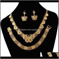 Orecchini Collana Drop Consegna 2021 Classic Etiope Set da sposa Set di fiori in oro 18K Set di farfalle per gioielli da sposa fvhry