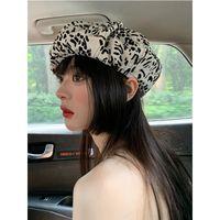 Beanie Skull Caps K223 Beret Women's Hat Personality Designer Cloud Female Retro Fashion Street Shooting Octagonal Painter Satin