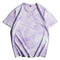 Verano suelto camiseta cuello redondo deportes al aire libre ocio marea de manga corta marca Tie-tinte moda ropa ropa