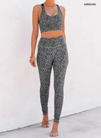Leopard print split sports suit bra bikini high waist pants casual yoga two-piece set 26081