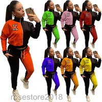 autumn and winter Women Two Piece Outfits Designer Tracksuits Letters Printed Color contrast Zipper Sportwear