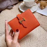 Luxury Herme Handbags and Storage Leather folding wallet women's short 2021 new net red fashion small simple ultra-thin