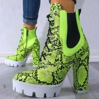 Stiefel Frauen High Heels Knöchel Schnürsenkel Mode Plattform Winter Schuhe Sexy Schlange Haut Dame Motorräder Schuhe