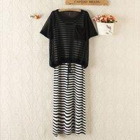 dresses Women's summer short sleeve sunscreen vest net gauze shirt striped long skirt modal two piece suit