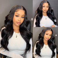 Hotselling Long Midde Part Body Wave Wigs Heat Resistant Indian Human Hair Synthetic Lace Front Wig for Black Women