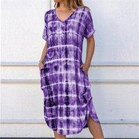 Summer Tie-dye Printed Thin Dress Womens Short Sleeve V Neck Gradient Boho Casual Loose Beach Sundress Women's Swimwear