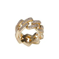 Mens 2 Row CZ Bling Cuaban Link Rings Gold Iced Out Cuban Ring Micro Pave Cubic Zirconia Simulated Diamonds Trend Hiphop Ring