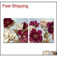 Pintura al óleo DYC 10061 2 UNIDS Flores rojas Impresión de arte listo para colgar pinturas W1MWE MKIVC