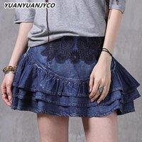 Юбки Yuanyuanjco летние женщины мини-инди джинсовые винтажные вышивки цветочные вздорные рубленые a-line высокая талия короткая женская одежда