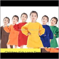 Aprons Children Kids Long Sleeve Ding Waterproof Smock For Practice Brushwork Painting Apron Solid Color Temxt Nzl8H