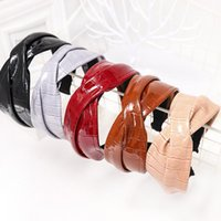 Hair Accessories Cross PU Leather Headbands Solid Color Hoop Wide Hairband Soft Headdress Fashion For Women Girls