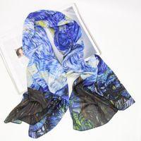 Scarves Italian Fashion Women Designer KlimtVan Gogh Oil Digital Painting Silk Scarf Shawls Foulard Bandana Wraps Scarfs LL190202