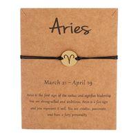 1pc Black Colors Gold Card Fashion Jewelry 12 Constellations Zodiac Woven Bracelet Bangles For Women Charm Bracelets
