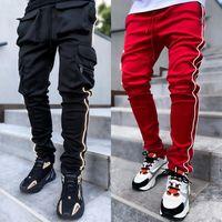 Pantaloni da uomo in primavera di Godlilikeu e Autunno Stretch Stretch Multi-tascabile Straight Sport Sport Pantaloni Casual Fitness