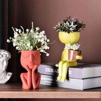 Moda personaggio ritratto fiore vaso di fiori in resina pianta vaso pianta astratto viso umano flower pot home desktop vaso decorazione ornamento 210401