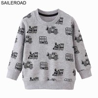 SAILEROAD Tractors Print Boys Sweatshirts Autumn Spring Children's Clothing Cotton for Baby Boys Clothes Kids Hoodies G0917