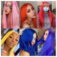 13x4 Spitzenfront Menschliches Haar Perücke rot blau rosa farbige Frontal vorgepuckte remy brasilianische Perücken für schwarze Frauen