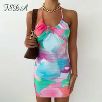 FSDA 2021 Tie Dye Print Bodycon Dress Women Backless Halter Neck Summer Sleeveless Beach Y2K Mini Party Dresses Y0608