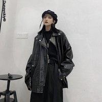 Women's Leather & Faux Japanese Fashion Women Loose Moto Jacket Chic Streetwear Long Sleeve Coat Outerwear Korean High Street Black Top