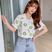 Oioninos Женская цветочная напечатанная площадью воротник повседневная короткая рукава свободная шифон блузка женские блузки рубашки
