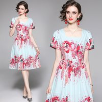 2021 Short Sleeve Runway Floral Dresses Women Designer Graceful O-Neck Office Ladies Slim A-Line Pleated Dress Summer Autumn Vacation Party Prom Street Style Frocks
