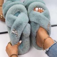 Women's Slippers Luxury Crystal Butterfly Faux Bont Slides Plunge Flip Flop Platform Sandals Plug Home Casual Shoes
