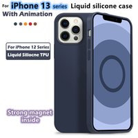 Official Color Liquid With Animation Silicone Case For iPhone 13 Pro Max Magnetic Magsafing Cover 12 13 Mini