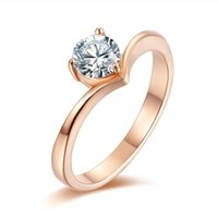 Cluster Rings Simple Gifts For Womans Accessories Fashion Silver Womens Stainless Steel Delicate Crystal Wedding Rose Gold