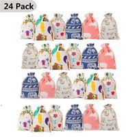 Sacos de prolas de pano de Natal Saco de algodão de Natal de Halloween conjunto com advento calendário adesivo saco de cordão de Natal CCD9625