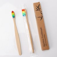 Brosse à dents de bambou naturelle Bosse biodégradable brosses douces ou moyennes poignée en bois outil de nettoyage oral pour adultes 1000pcs