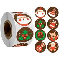 Рождественская вечеринка подарочная коробка 500 шт. Круглые этикетки Kraft Paper Спасибо Наклейка Сумка Цветочные подарки Торт Коробки Упаковка Наклейки DWD10805