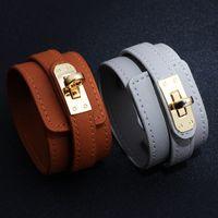 Fashion Popular Multicolors Wide PU Leather Cuff Bracelet for Women