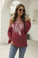 Fashion Female Feather Print Blouses Contrast Color Designer Womens Clothing Long Sleeve Halter Hollow Out Ladies Shirts