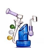 물 담뱃대 미니 오일 rigs Klein Recycler Dab Bong Heady Glass Water Bongs Chicha 연기 안경 버너 파이프 Shisha 14mm Banger
