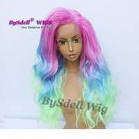 Long sexy men mermaid hairstyle wig synthetic pink ombre blue green color hair male wig lace front wigs for drag queen