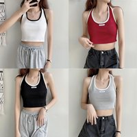 Women's Tanks & Camis Y2K Aesthetic Women All-match Sexy Knitted Halter Vest Fashion Letter Label U-neck Exposed Navel Sleeveless 2021 Simpl
