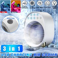 전기 팬 공기 냉각기 팬 미니 데스크탑 컨디셔너 USB 냉각 가습기 청정기 다기능 여름 야간 조명