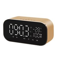 Desk & Table Clocks S2 Portable Wireless Speaker Support Temperature LCD Display FM Radio Alarm Clock Stereo Subwoofer Music Player