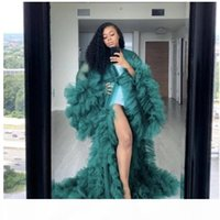 dark green Fashion Ruffles Tulle Kimono evening Dresses Robe Extra Puffy Prom Party Dresses Puffy Sleeves African Cape Cloak Pregnant Gowns