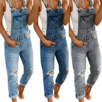 3Xl Big Size Denim Women Jeans Overalls Dungarees Strappy Romper Jumpsuit Cool Style Ripped Streetwear